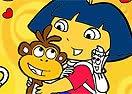 Colorir Dora Com Macaco Botas