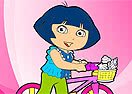 Colorir Dora Com Sua Bicicleta