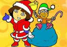 Colorir Dora e Botas no Natal