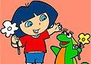Colorir Dora e Seu Dinossauro