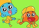 Colorir Gumball e Darwin Brincando