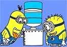Colorir Minions Bebendo Água