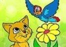Colorir o Gato e o Passarinho