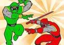 Colorir Power Rangers Em Ação