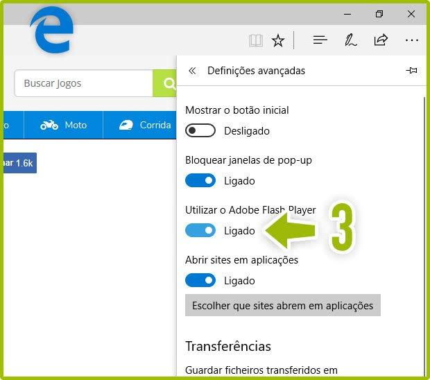 Ativar o Flash Player no Microsoft Edge 2