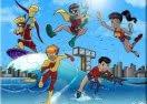 Kid Flash e os Jovens Titãs na Praia