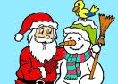 Pinte Papai Noel Com Boneco de Neve