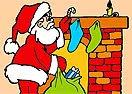 Pinte Papai Noel Entregando Presentes