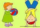 Pinte Rosie E Caillou Brincando