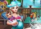 Pregnant Eliza Pool Fun